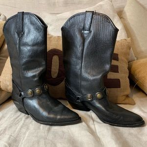 Vintage black leather boots.